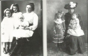 Left- Belle with Lucy, Myrtle & Phillip; Right with 2 of her children
